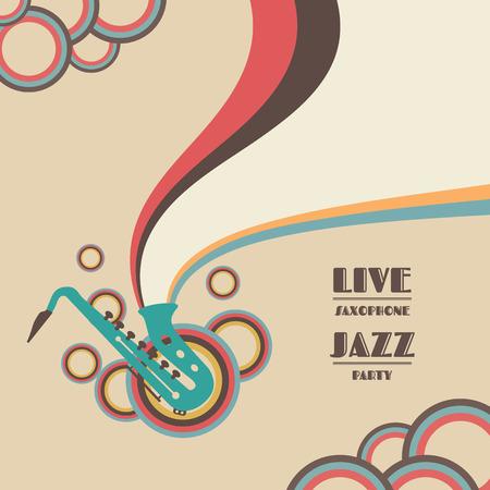 saxofón: saxofón show en vivo, concierto de música de jazz Vectores