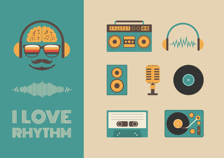 cassette tape: set of old style listening gadget icon, retro revival Illustration