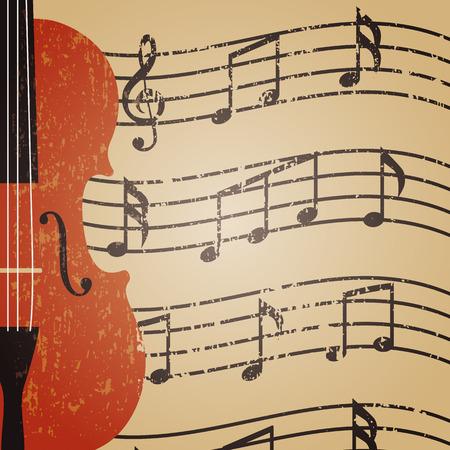 retro grunge: grunge violin with key note, retro background