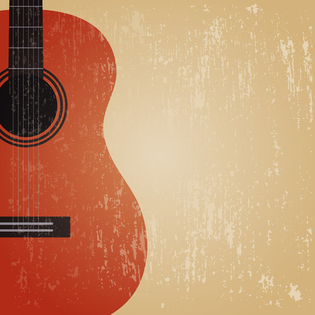 classical guitar: grunge classical guitar , retro background Illustration