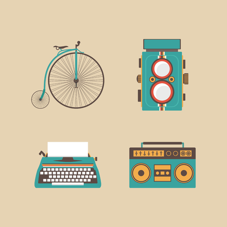 old fashion: set of retro equipment icon, old fashion, retro style