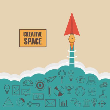 pensamiento creativo: El motor del avión de papel es la idea, puede lanzar al espacio creativo como un cohete, pensando concepto, estilo plano