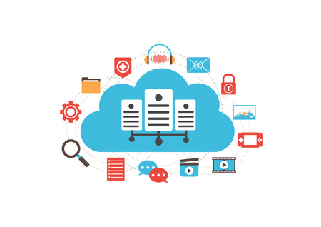 server technology: cloud server with media icon, online technology, isolated on white background