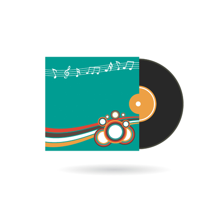 record cover: cd record with cover, isolated on white background