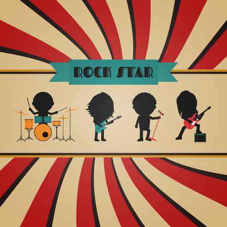 rock stage: retro rock band poster, vintage style