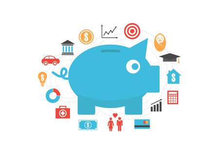 piggy bank with icon, money saving reason, isolated on white background Ilustrace
