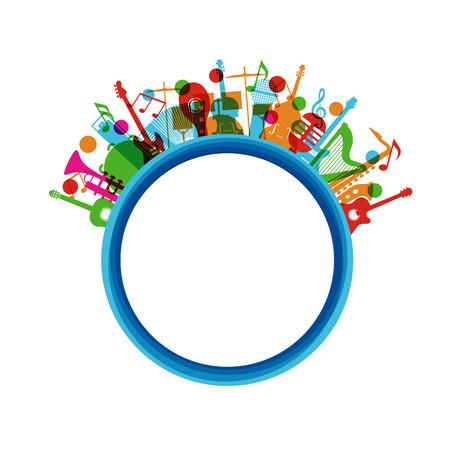kleurrijke muziek instrument poster, geïsoleerd op een witte achtergrond