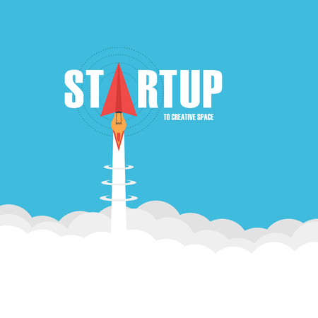 paper plane: startup business concept, paper plane launch like rocket fly to creative space