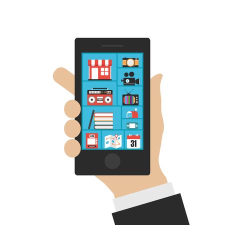 marketting: smartphones benefits,  communication, connection, isolated on white background