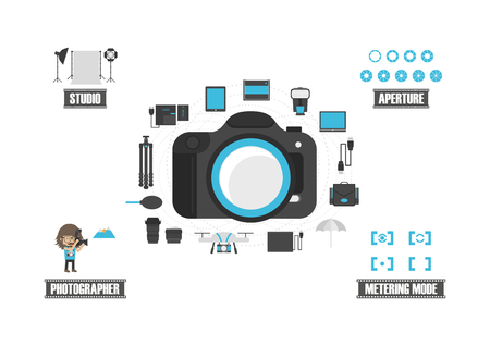 tripods: set of camera icon, isolated on white background Illustration