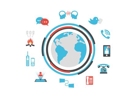 vdo: communication technology, past and future, infographic, isolated on white background Illustration