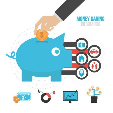reason: piggy bank with icon, money saving reason, isolated on white background Illustration
