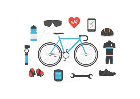 computadora caricatura: un conjunto de accesorios de la bicicleta en el fondo blanco