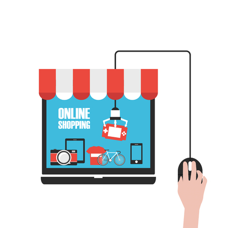 elegir producto en la tienda en línea, aislado en fondo blanco