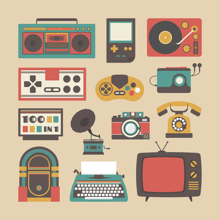 telefono caricatura: chapado a la antigua, gadget de entretenimiento, icono de estilo retro