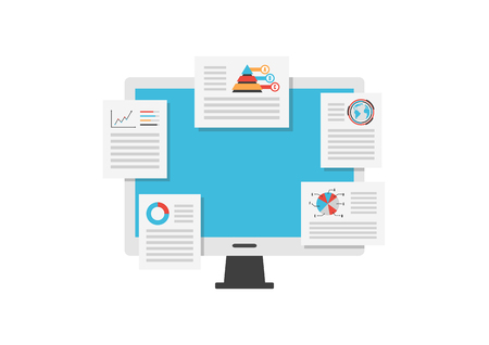 business analysis: monitor analysis data, business concept,  isolated on white background Illustration
