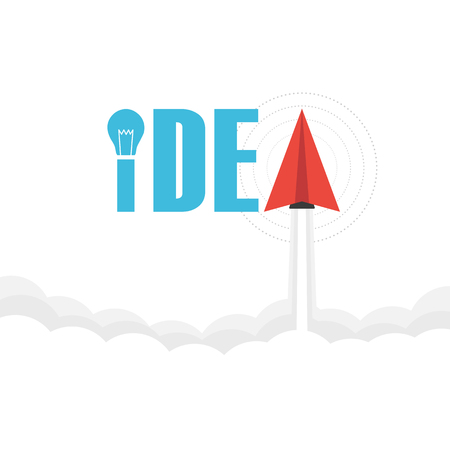 idea bulb: the word idea on sky with paper plane and light bulb, thinking concept