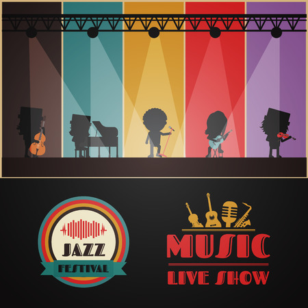 classical band on stage, retro music poster Vectores