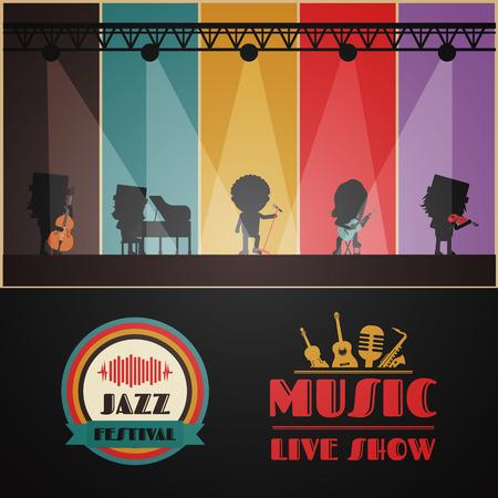klassieke band op het podium, retro muziek poster Stock Illustratie