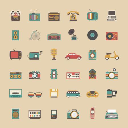 retro illustration: all retro icon set, music, vehicle, game and other technology,  pastel style Illustration