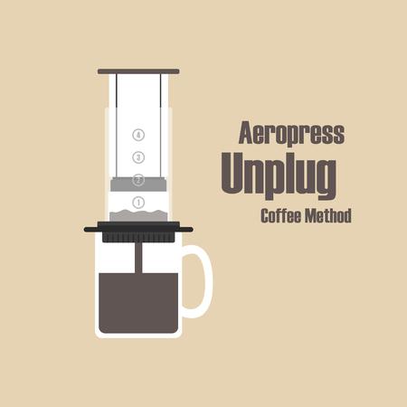 unplug: Aeropress, unplug coffee methods, pastel style