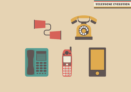 telecommunication: evolution of telephone, former to present Illustration