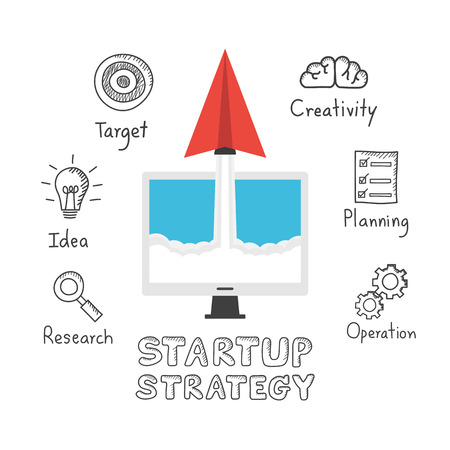 planing: startup strategy, paper plane rocket  flying to space with freehand icon, isolated on white background