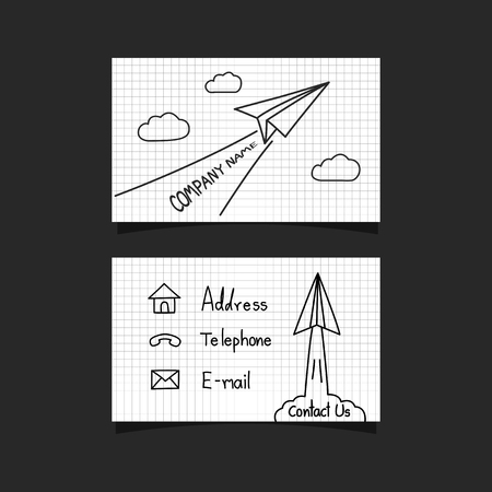 paper plane: freehand paper plane business card