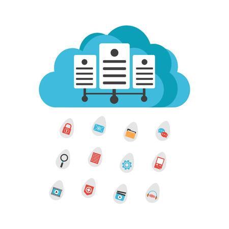 vdo: media rain from cloud server, isolated on white background
