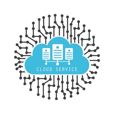 server technology: digital cloud server, online technology, isolated on white background