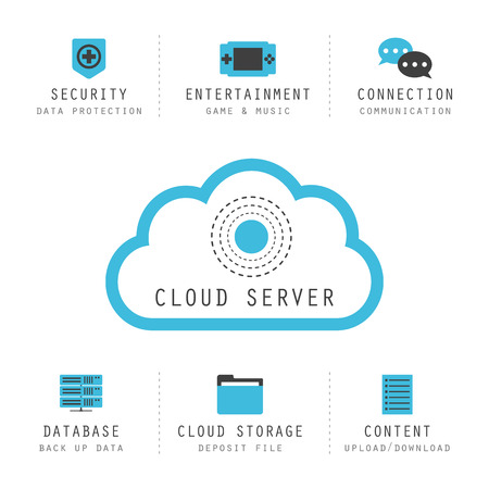 servers: isolated cloud computing infographic, cloud server icon Illustration