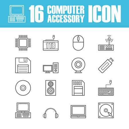 computer equipment: set of computer equipment outline icon