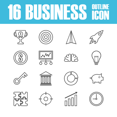 business outline: set of business outline ico, isolated on white background