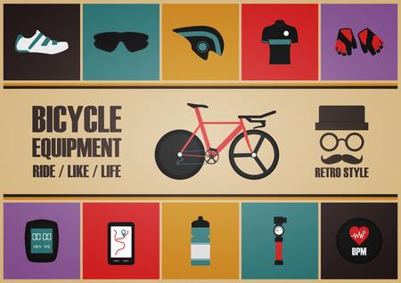 biking glove: retro bicycle poster, pastel and vintage style Illustration