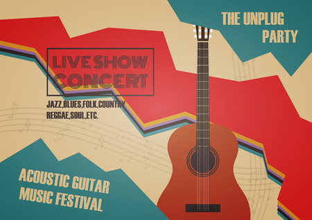 contest: guitar contest poster, vintage and retro style