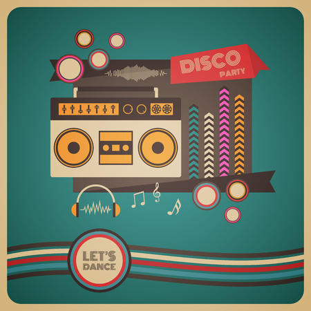 retro radio: boombox disco party, retro and vintage poster Illustration