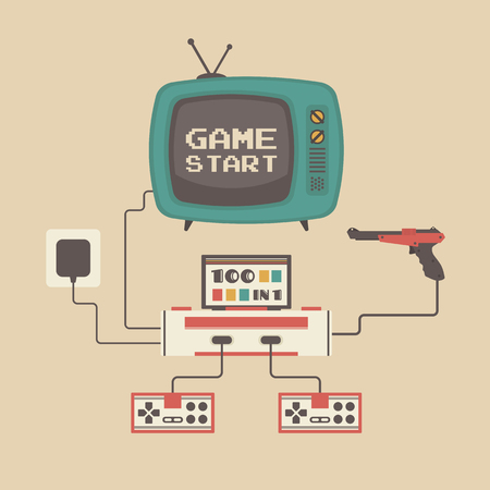 set of retro game player and television