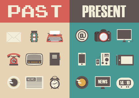 past: retro and modern technology, past to present Illustration