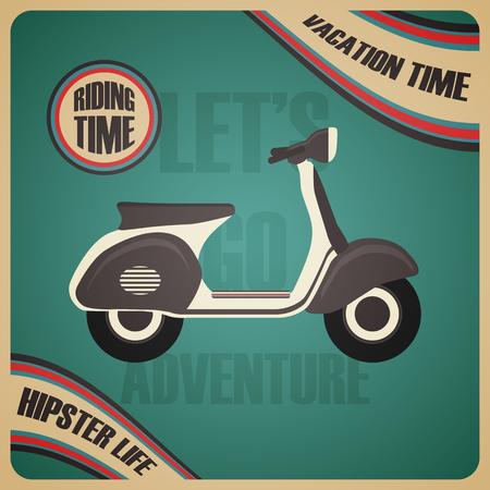 reise retro: Vintage Roller Plakat, Urlaubszeit