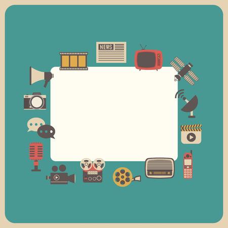 live: communication icon, retro technology, analog style