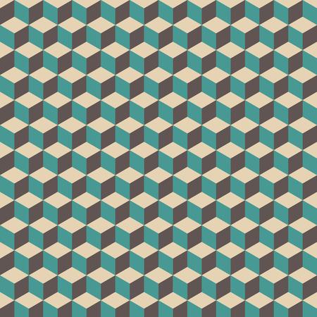 cubo: patrón de cubo 3D, vintage y retro de fondo
