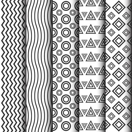 minimal: black and white pattern set, minimal collection Illustration