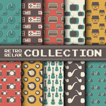 gadget: retro gadget and relax activities pattern set, retro style