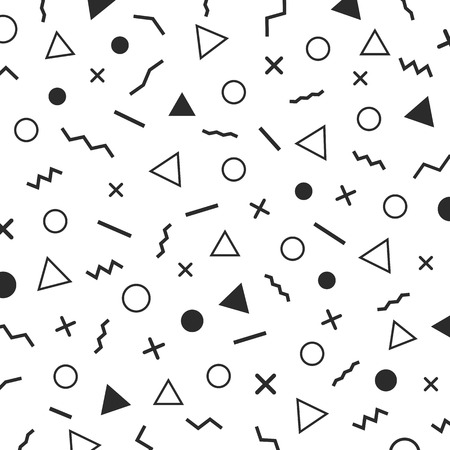 black and white minimal patterns, the era 80s - 90s years memphis design, isolated on white background