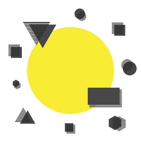 minimal: minimalist background, yellow circle with geometric icon, isolated on white background