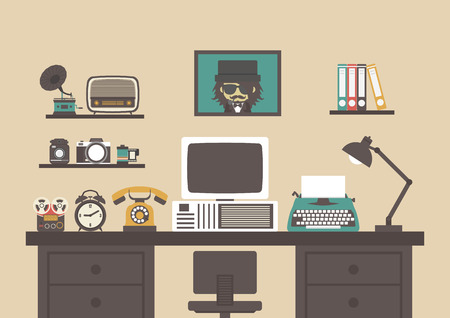 old style retro: old style working room with old equipment , retro workspace Illustration