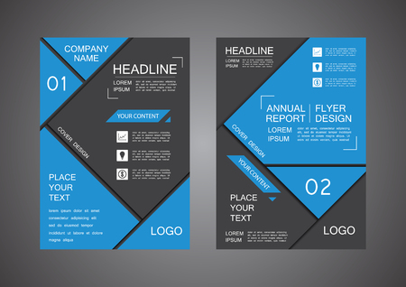inspiration: blue and black triangle cover design, annual report