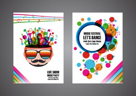 colorato manifesto festival di musica, disegno di copertina, isolato su bianco