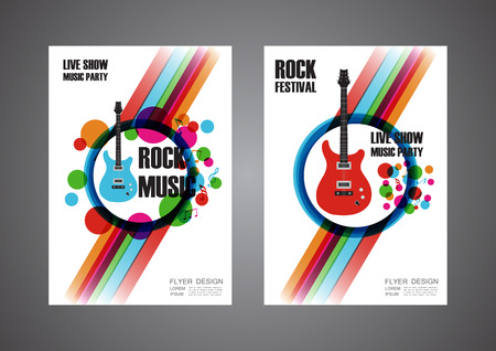 business report: colorful music festival poster, cover design, isolated on white