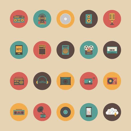 cd recorder: set of retro music gadget icon, retro and vintage style Illustration